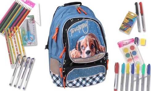 obrázok Batoh PUPPY s náplňou školských potrieb