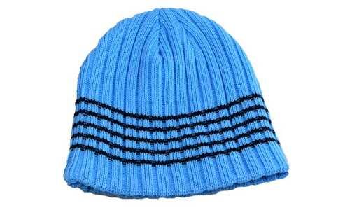 obrázek Dětská čepice pletená modrá s černým pruhem