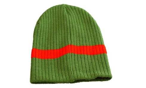 obrázek Dětská čepice pletená zelená s červeným pruhem