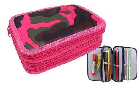 obrázek Penál 3patrový růžový maskáč + školní potřeby