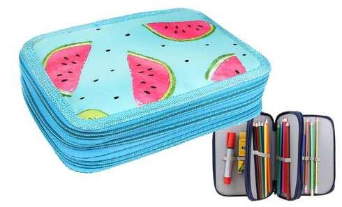 obrázek Penál 3patrový sv. modrý meloun + školní potřeby
