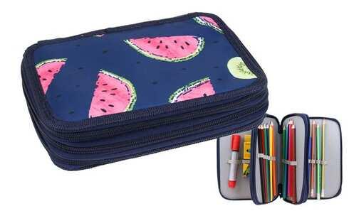 obrázek Penál 3patrový tm. modrý meloun + školní potřeby