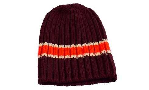 obrázek Čepice dětská pletená hnědá s červeno-bílým pruhem