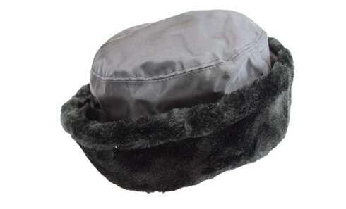 obrázek Klobouk černý šusťákový s kožešinovým lemem