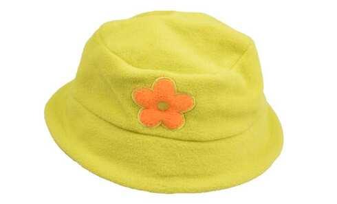 obrázek Dětská čepice fleecová zelená s kytičkou