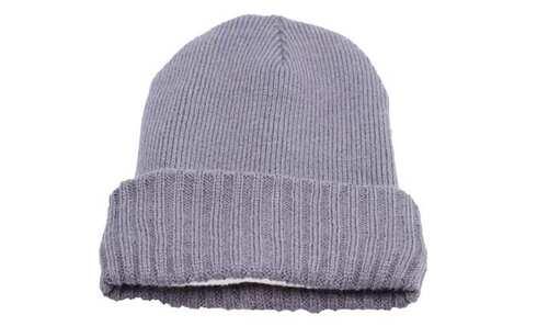 obrázek Čepice pletená šedá s kožíškem