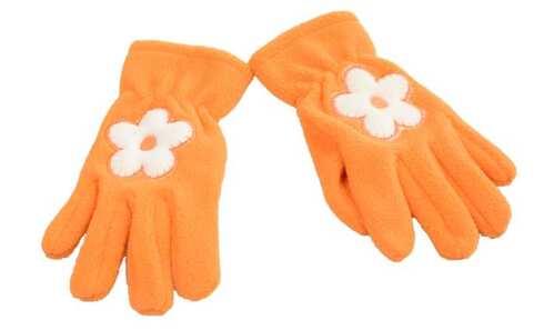 obrázek Rukavice oranžové s kytičkou