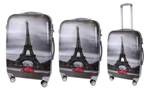 obrázek Sada 3 kufrů (Černé - Eiffelovka)