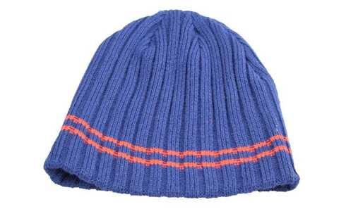 obrázek Čepice pletená modrá s červeným pruhem
