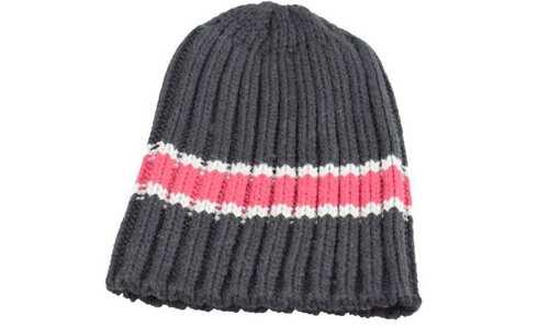 obrázek Čepice pletená černá s červeným pruhem