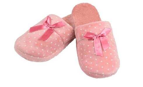obrázek Pantofle zateplené tmavě růžové s hvězdičkami
