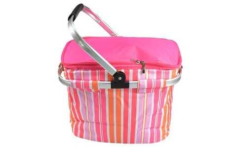 obrázek Termo skládací nákupní košík s víkem  růžový