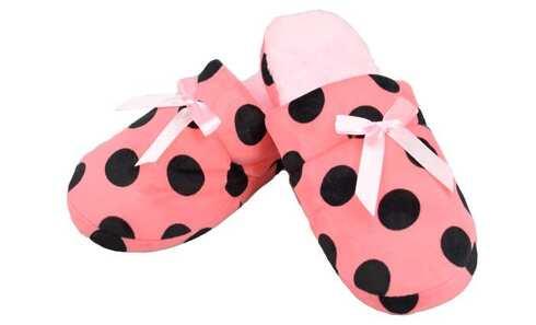 obrázek Pantofle zateplené růžové s puntíky vel.40/41