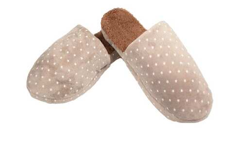obrázek Pantofle zateplené hnědé s hvězdičkami vel.44/45
