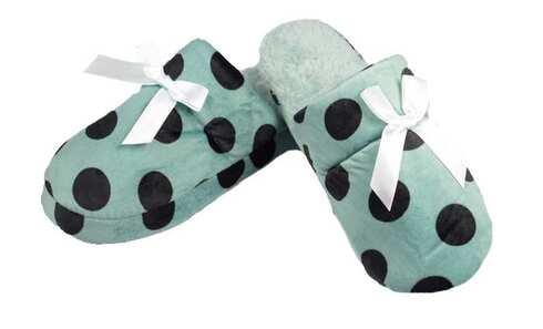 obrázek Pantofle zateplené zelené s puntíky vel.38/39
