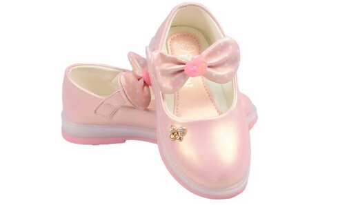 obrázek Dětské baleríny blikající růžové s mašlí vel.30