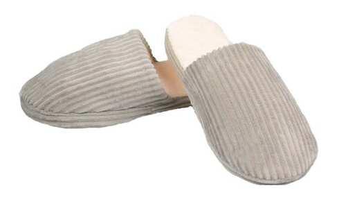 obrázek Pantofle zateplené šedé pruhované vel.40/41