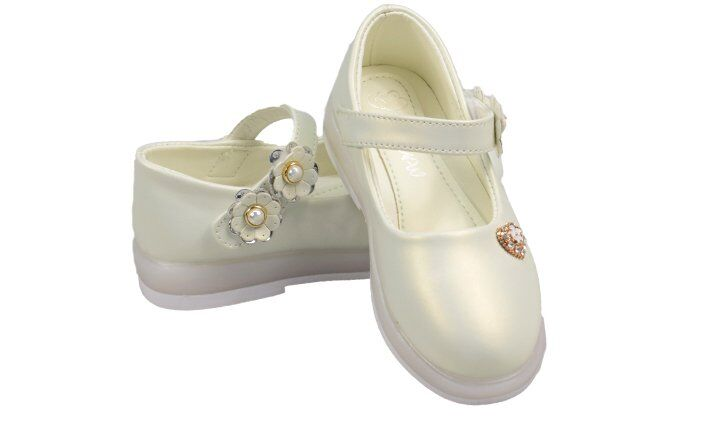 Dětské baleríny blikající bílé s kytičkami vel.29