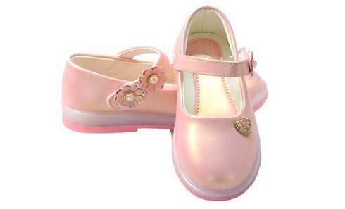 obrázek Dětské baleríny blikající růžové s kytičkami vel.22