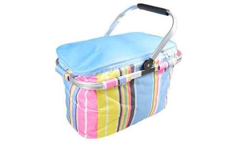 obrázek Termo skládací nákupní košík s víkem modrý pruhovaný