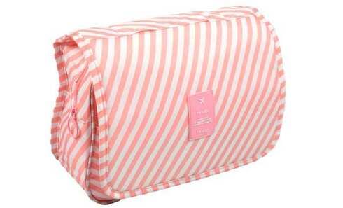 obrázok  Kozmetická taška závesná s pruhmi ružová