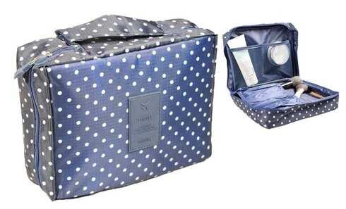obrázok Kozmetická taška Travel modrá s bodkami