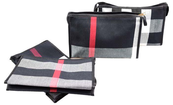 Kosmetická taška s geometrickým vzorem černá