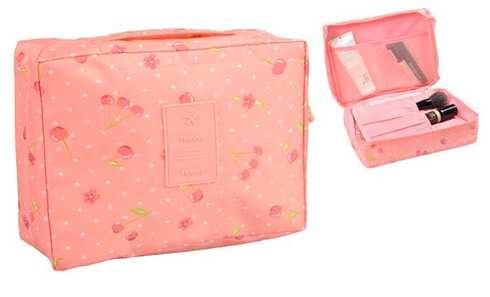 obrázek Kosmetická taška Travel růžová s třešněmi