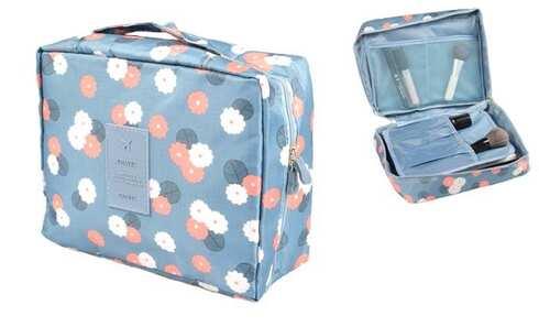 obrázok Kozmetická taška Travel modrá s kvetmi