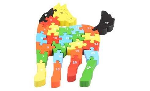 obrázok Vzdělávací drevené puzzle kôň