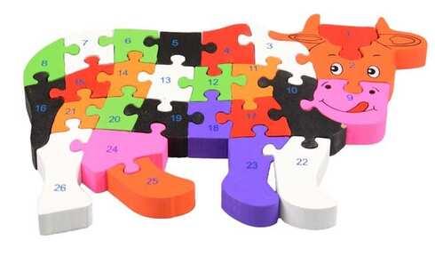 obrázek Vzdělávací dřevěné puzzle kráva