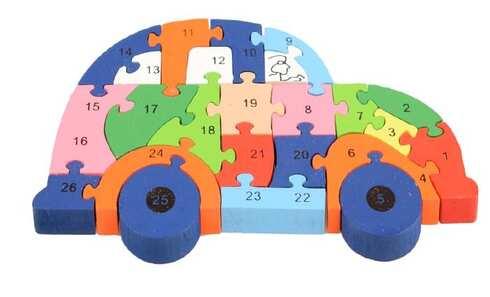 obrázok Vzdělávací drevené puzzle auto var.1