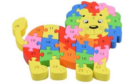 obrázok Vzdělávací drevené puzzle lev