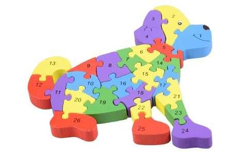 obrázek Vzdělávací dřevěné puzzle pes