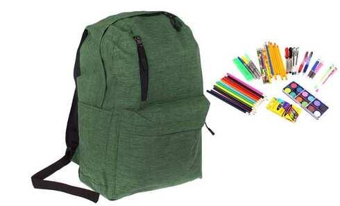 obrázok Batoh s náplňou školských potrieb zelený