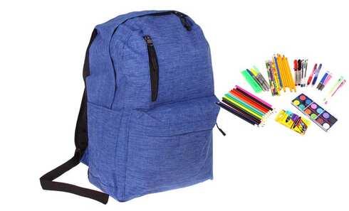 obrázok Batoh s náplňou školských potrieb modrý