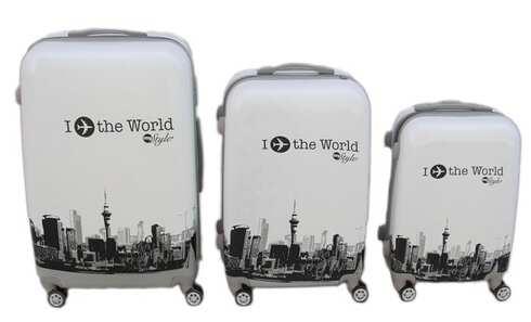 obrázek Sada 3 skořepinových kufrů (world)