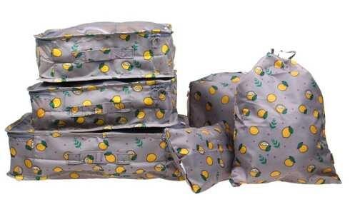 obrázek Cestovní organizér do kufru 6ks šedý s citróny