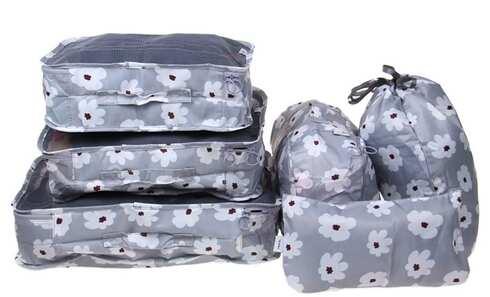 obrázek Cestovní organizér do kufru 6ks šedý s květy