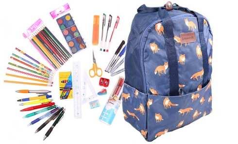 obrázek Batoh modrý s liškami s náplní školních potřeb