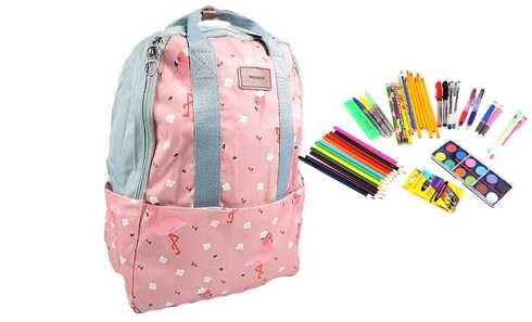 obrázek Batoh růžový s plameňáky s náplní školních potřeb