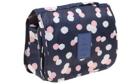 obrázek Kosmetická taška závěsná modrá s kytičkami