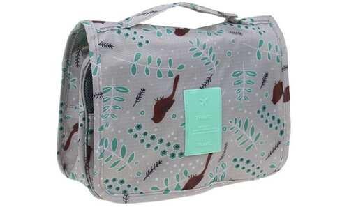 obrázek Kosmetická taška závěsná šedá s ptáčkem
