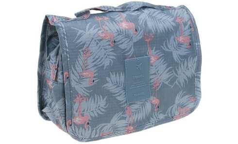 obrázek Kosmetická taška závěsná šedá s plameňáky