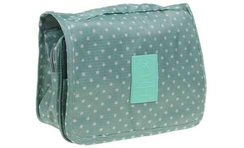obrázek Kosmetická taška závěsná zelená s puntíky
