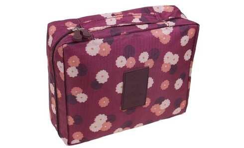 obrázek Kosmetická taška Travel vínová s květy