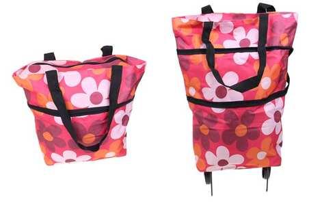 obrázek Nákupní taška s kolečky červená s květy