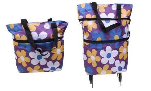 obrázek Nákupní taška s kolečky fialová s květy