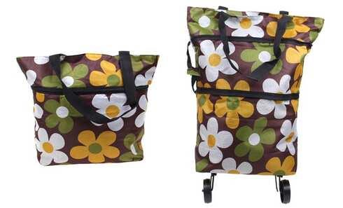 obrázek Nákupní taška s kolečky hnědá s květy