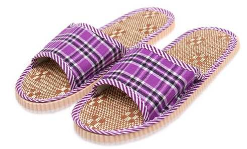 obrázek Pantofle s otevřenou špičkou kostkované fialové vel.36/37